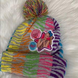 Girls jojo Siwa Rainbow beanie hat with Pom